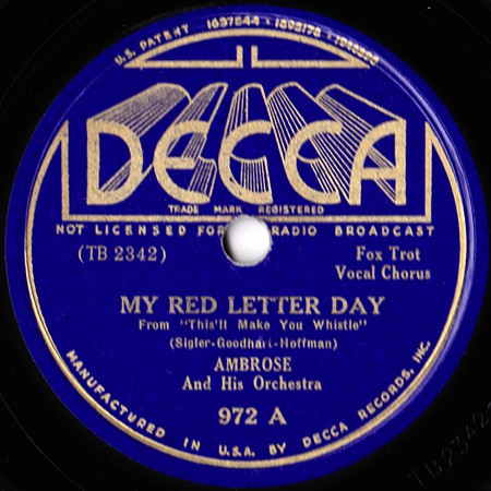 Ambrose And His Orchestra* - My Red Letter Day / Wood And Ivory (Shellac, 10