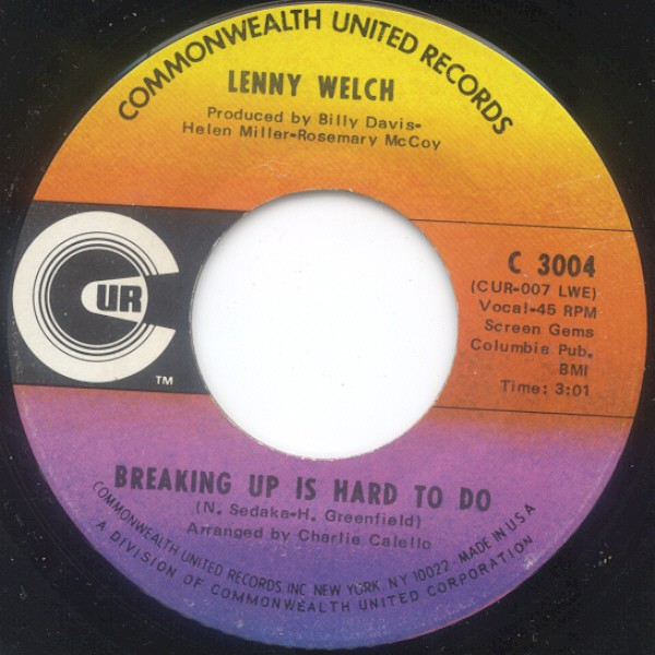 Lenny Welch - Breaking Up Is Hard To Do / Get Mommy To Come Back Home (7